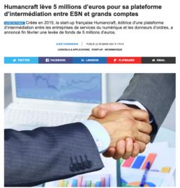 article de presse sur la levée de fond de HmanCraft, intérmédiaire entre ESN et grands comptes