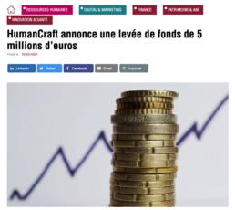 article de presse sur la levée de fonds de HumanCraft